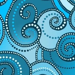 Rolling Waves - Teal Blue