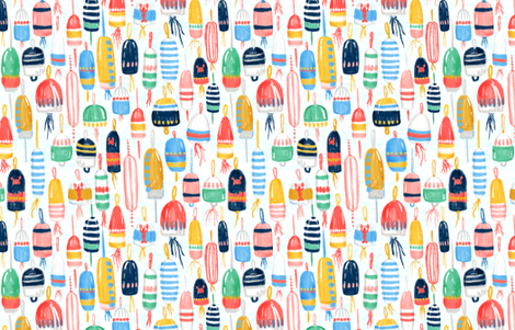 """Lobster Buoys (white) 24"""" fabric by helenpdesigns on Spoonflower - custom fabric"""