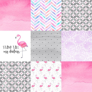 Flamingo//Stand tall my darling - Wholecloth Cheater Quilt