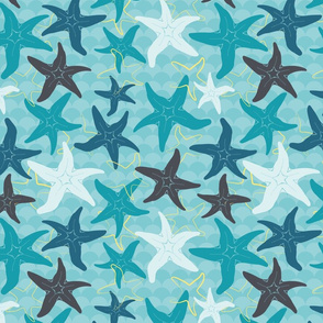 Sea Stars on Scallop Background - Multi Teal and Grey with Yellow Highlights