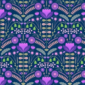 Folk art blooms in a scandinavian garden purple