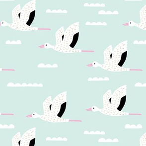 Birds and clouds in the sky Scandinavian crane and stork design summer girls pink mint