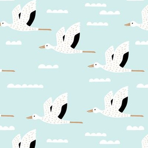 Birds and clouds in the sky Scandinavian crane and stork design summer boys blue
