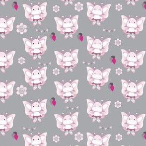 Butterfly Girly Gray Pattern