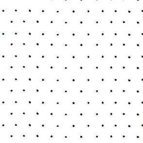 Ditsy micro Pin dots navy blue on white
