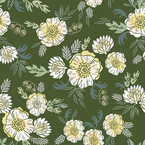 sierra floral - block print floral fabric, woodcut floral, linocut floral fabric, block print fabric, andrea lauren design fabric, home decor fabric, interior design, floral  girls nursery fabric -  dark green