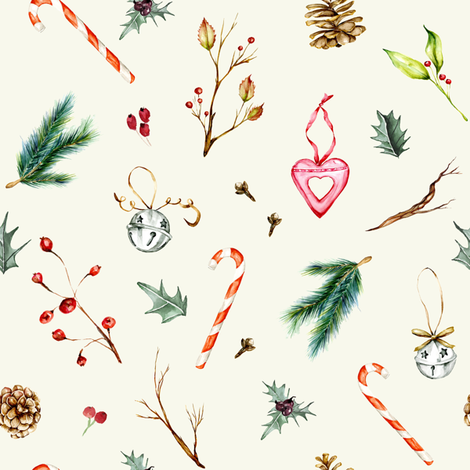 Winter Holidays // Beige fabric by hipkiddesigns on Spoonflower - custom fabric