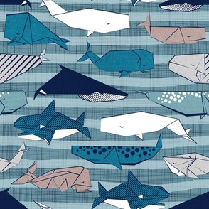 Origami Sea // small scale // linen texture and nautical stripes background teal white and taupe whales