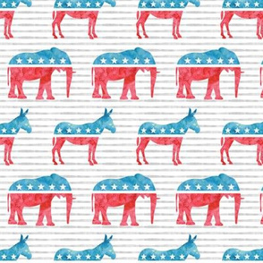 Political Party - Elephants and Donkeys - Red and blue on stripes - LAD19