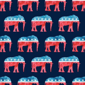 Republican Party - Elephants - Red and blue watercolor on blue - LAD19