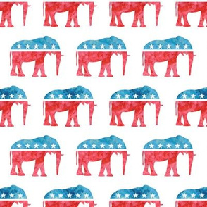 Republican Party - Elephants - Red and blue watercolor - LAD19