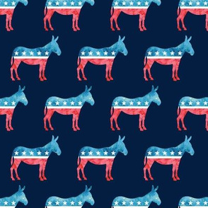 Democratic Party - Donkey - Red and blue watercolor on blue - LAD19