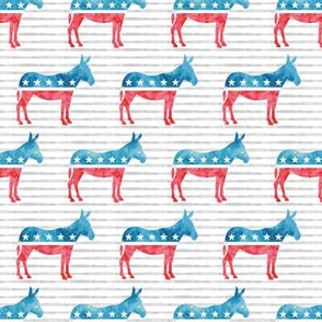 Democratic Party - Donkey - Red and blue watercolor on stripes - LAD19