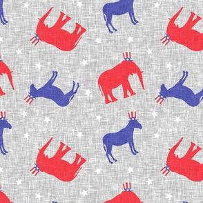 Political Party - Elephants and Donkey toss - Red White and Blue election fabric - LAD19