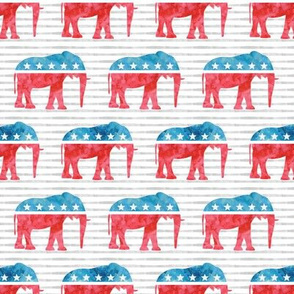 Republican Party - Elephants - Red and blue watercolor on stripes - LAD19
