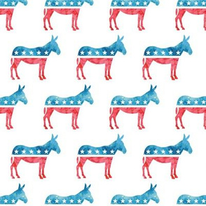 Democratic Party - Donkey - Red and blue watercolor - LAD19