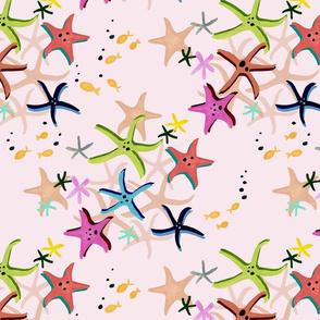 Colourful Starfish Pink Ground