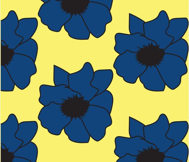 Fiori Celesti Sfondo Giallo Wallpaper Vale1711 Spoonflower