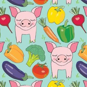 pigs-and-veggies-on-green