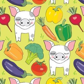 spotted pigs and-veggies-on-green