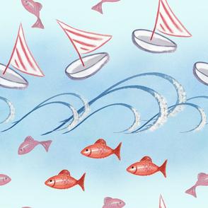 Nautical fish waves and sailboats