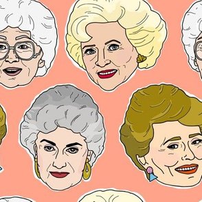 Golden Girls Illustration in Peach - Large Scale