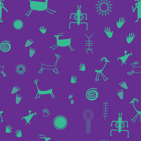 petroglyph 5_seaml_cropped tile_purple background_turquoise elements_01 fabric by pam__bond__designs on Spoonflower - custom fabric