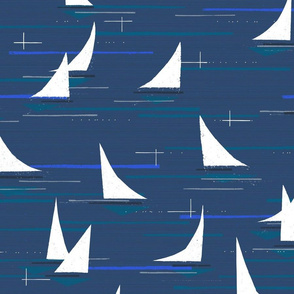 Mid Century Modern Night Sail M+M Navy Blue by Friztin