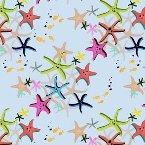 Colourful Starfish Blue Ground