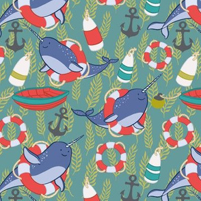 Nautical Narwhals on Blue