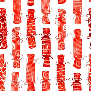 Watercolor Christmas Crackers -Red