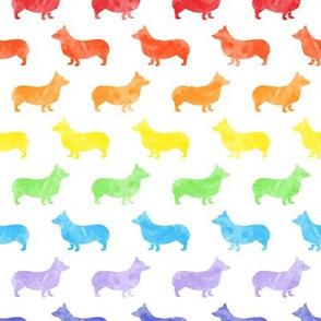 watercolor corgi - Pembroke Welsh Corgi dog breed - rainbow - LAD19