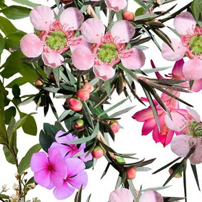 Tropical Waxflower Digital Floral in White