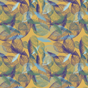 leaves on yellow bg