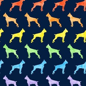 boxer dogs - rainbow on navy (cropped) - LAD19