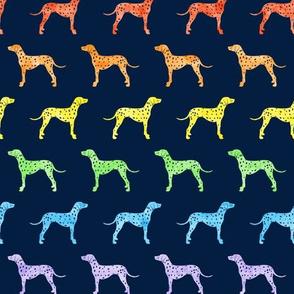 Dalmatians dog - rainbow on navy - LAD19