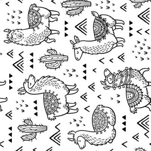 Happy Llamas coloring print_rotate