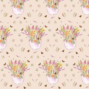 Spring Flowerpot (watercolour & photography) biscuit beige