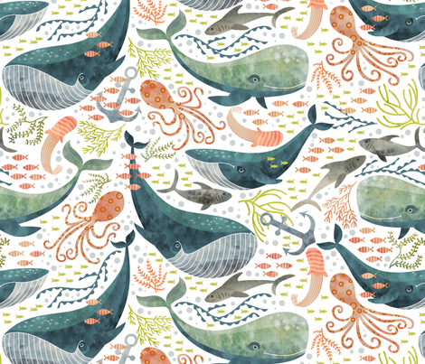 nautical sea fabric by cjldesigns on Spoonflower - custom fabric
