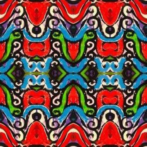 Red filligree, hand drawn, green, blue