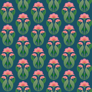 Folk art botanical motif green