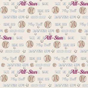 AllStar vintage cream worn  baseball  stars and text  105