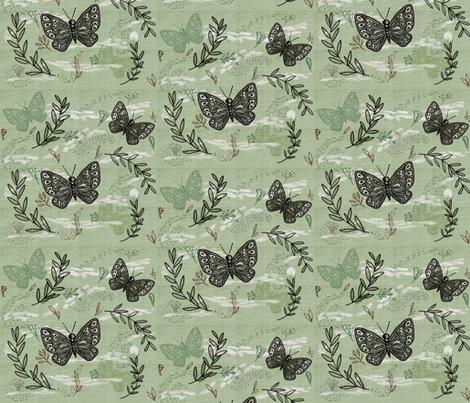 Graceful bush pea 3 fabric by laurawrightstudio on Spoonflower - custom fabric