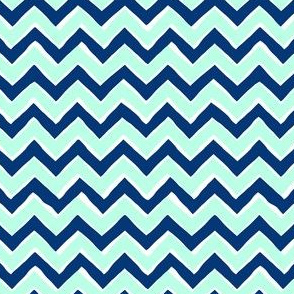Chevron // Mint + Navy