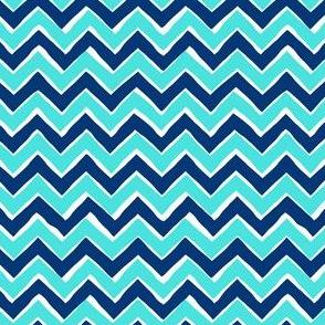 Chevron // Turquoise + Navy