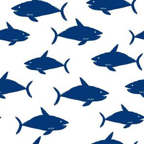 Sharks! // Navy + White