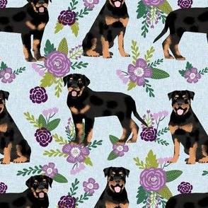 rottweiler dog fabric - floral dog fabric, dog fabric, rottweiler floral fabric, cute pet fabric, dogs fabric - blue