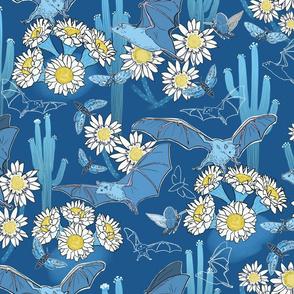 Night Pollinators Monochrome Blue