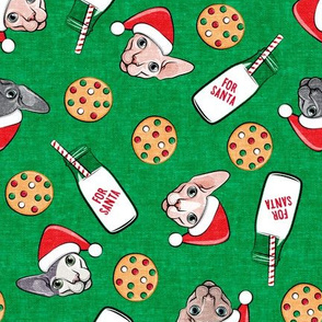 Cats and Cookies - Sphynx Cat, cookies, and milk for Santa - green - LAD19