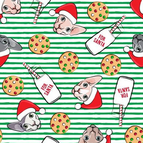 Cats and Cookies - Sphynx Cat, cookies, and milk for Santa - green stripes - LAD19